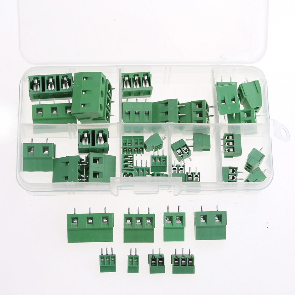 Glarks 40pcs(8 Kinds) 2.54 / 3.8 / 5.0 / 7.5mm Pitch 2 / 3 Pin PCB Mount Screw Terminal Block Connector Assortment Kit