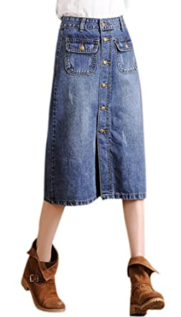 c63238765c Luodemiss Women's Slim Fit A Line High Waist Single Button Denim Skirt with  Two Pockets Blue