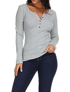 ce01f0d3 Zumla Women's Henley V Neck Button Up Knit Blouses Long Sleeve Blouse Top