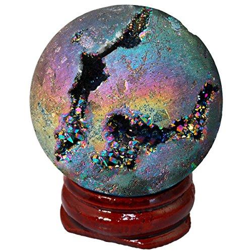 SUNYIK Rainbow Titanium Coated Druzy Geode Sphere Ball,Crystal Quartz Agate Gemstone Ball,Sculpture Figurine Healing
