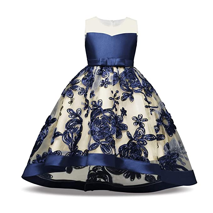2f4b70844c7f7 FUFUCAILLM Girls Special Occasion Dress Kids Toddler Sleeveless Wedding  Party Embroidered Flower Pageant Dresses (Blue