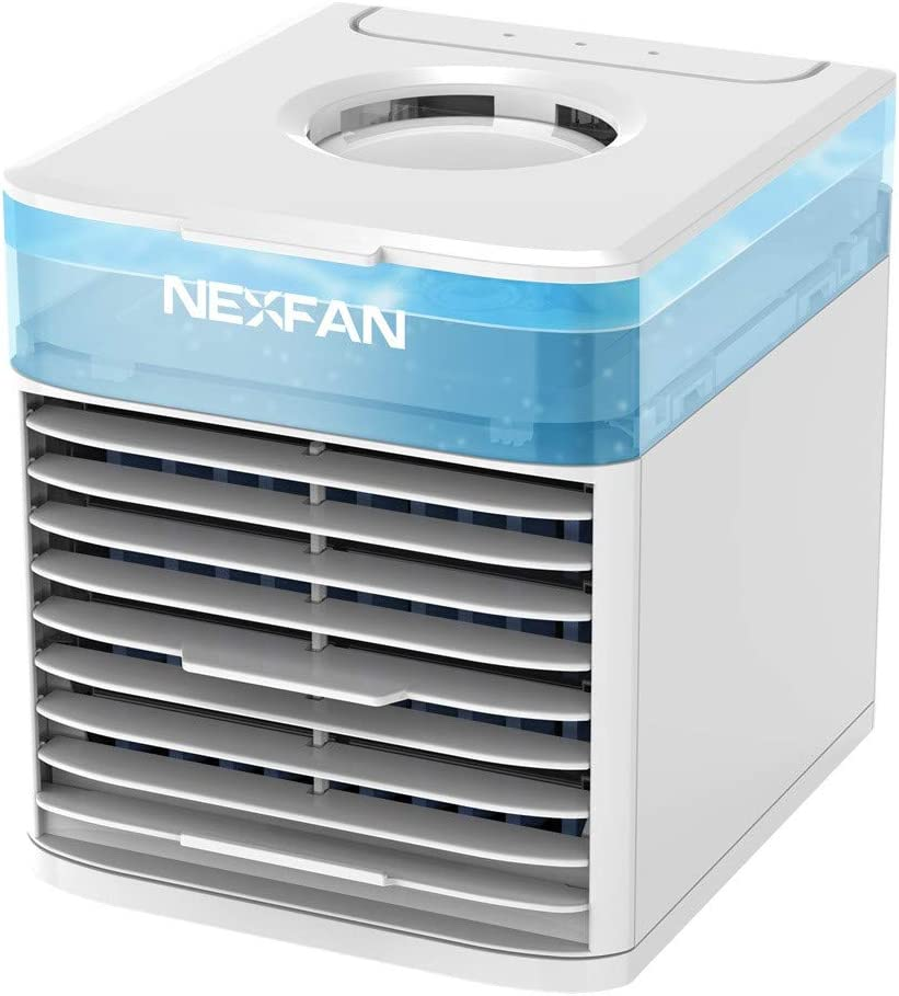 Portable Air Conditioner Fan, Mini Evaporative Cooler Personal Air Cooler with 7 Colors Light Changing, 3 Fan Speed, Super Quiet Humidifier Misting Fan for Home Office Bedroom, Wearable AC