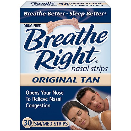 Bandelettes nasales Breathe Right, Small / Medium, Tan, 30-Count Boîtes (pack de 2)