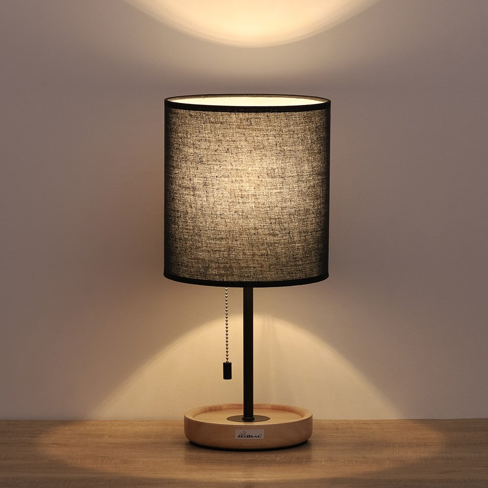 Haitral Wooden Table Lamps Black Minimalist Bedside Desk