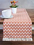 Sticky Toffee Cotton Woven Table Runner with Fringe, Scalloped Diamond, Orange, 14 in x 72 in