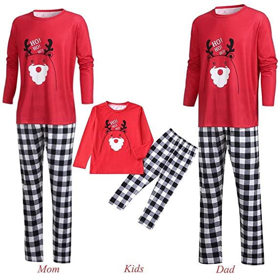 4b2817bacb5c Rosennie Matching Christmas Pajamas,Xmas 2PCS Cartoon Letter Deer Top+Pants  Nightwear Pajama Sets Outfits Family Clothes PJ Set Sleepwear (L, ...
