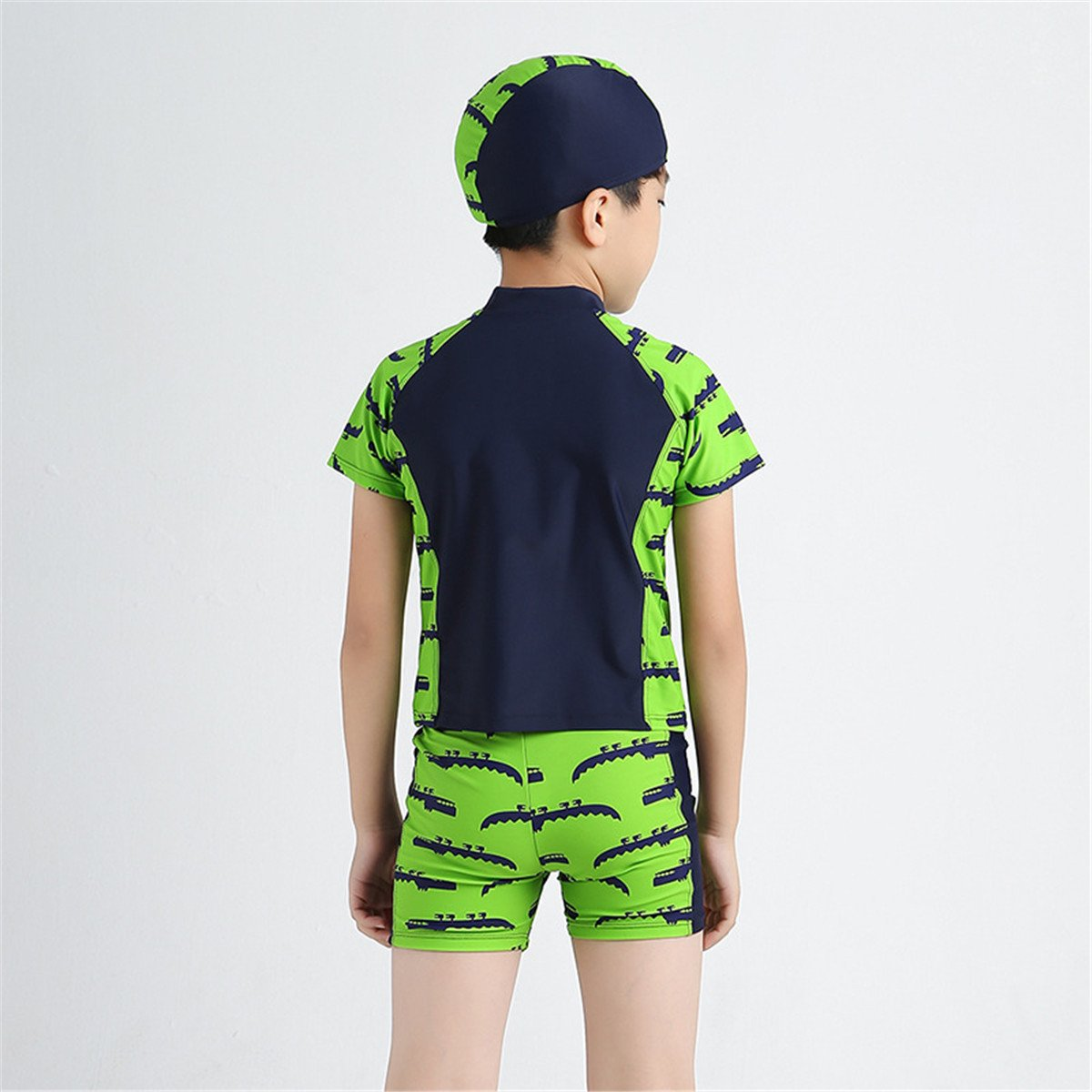 Baby Kids Little Boys Two Pieces Green Short Sleeve Sun Protection Swimsuit UV Rash Guard with Caps