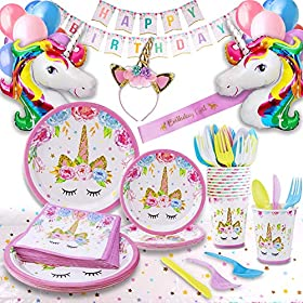 Unicorn Party Supplies – Bonus Unicorn Headband Birthday Sash and Balloons- Serves 16 Guests – Unicorn Birthday Decorations for Girls with Disposable Tableware Cutlery- By GFive Party Pack