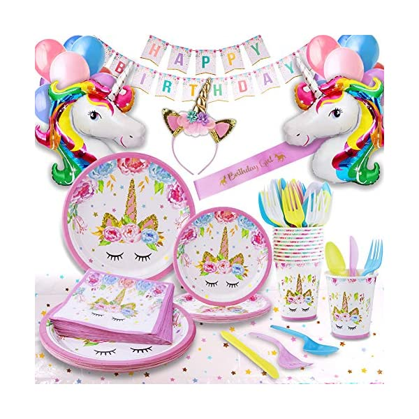 Unicorn Party Supplies - Bonus Unicorn Headband Birthday Sash and Balloons- Serves 16 Guests - Unicorn Birthday… 3