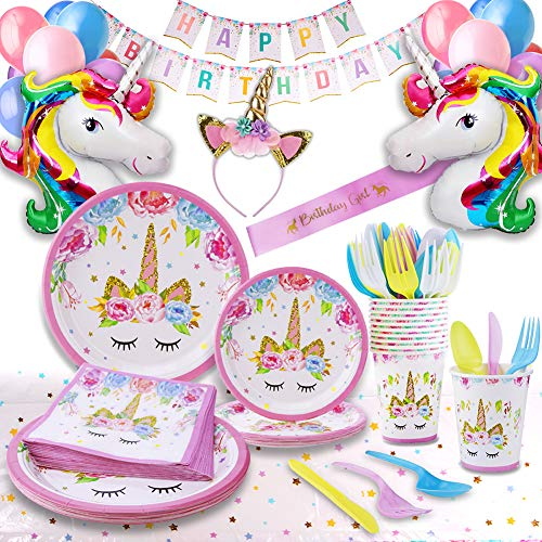 Unicorn Party Supplies - Bonus Unicorn Headband Birthday Sash and Balloons- Serves 16 Guests - Unicorn Birthday Decorations for Girls with Disposable Tableware Cutlery– By GFive Party Pack ()