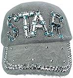 J.Ann Ladies Angora Military Cadet Style Hat with STAR Rhinestones- Grey