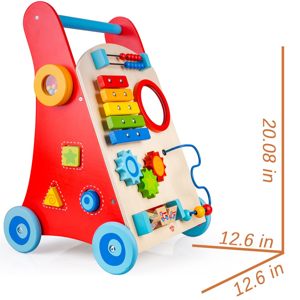 cossy Wooden Baby Walker Toddler Toys for 18 Month, Push and Pull Toy Learning Walking Toys by cossy (Image #4)