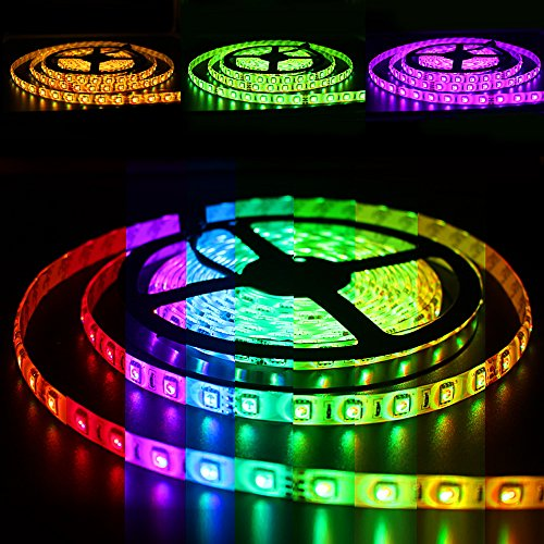 Solarphy 32.8ft (10m) RGB LED Strip Light Bluetooth Smartphone App Controlled 5050 LED Light Strip 600 LEDS Waterproof RGB Multicolored LED Lights Kit with 24V 5A Power Supply For iPhone (Above Dining Sets)