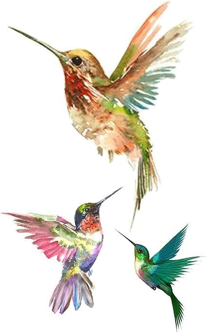 wyuen 5 hojas aves colibrí tatuaje falso impermeable tatuajes ...