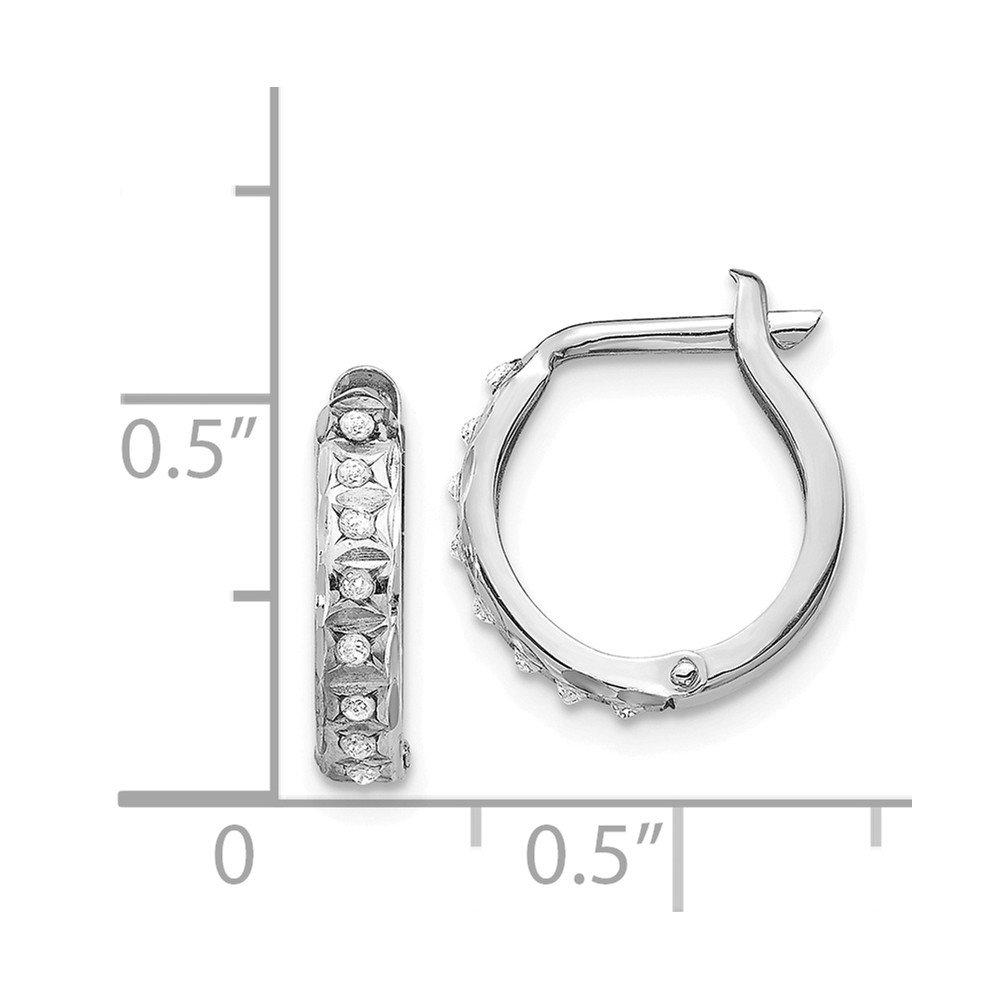 Mia Diamonds 14k White Gold Diamond-cut 2mm Round Tube Hoop Earrings