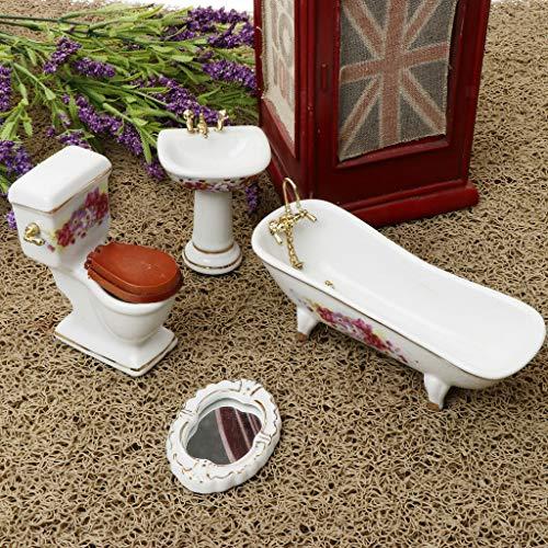 (NATFUR Vintage Dollhouse Bathroom Furniture Kits - 1/12 Scale Porcelain Ornaments)