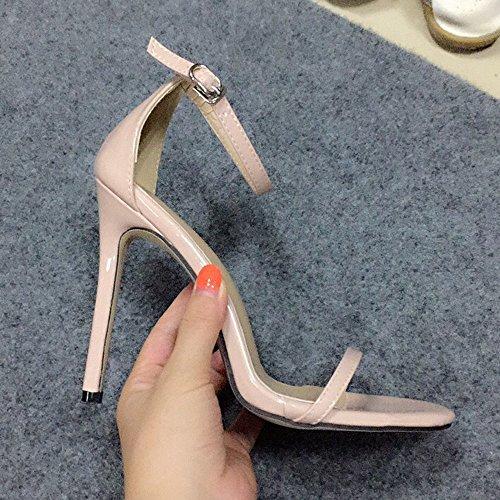 Scarpe Simple GAOLIXIA con Summer piede tacco donna con alto Sandali da fibbia Fascia Sandali da Stilettos Apricot Street 1qrw1x4n