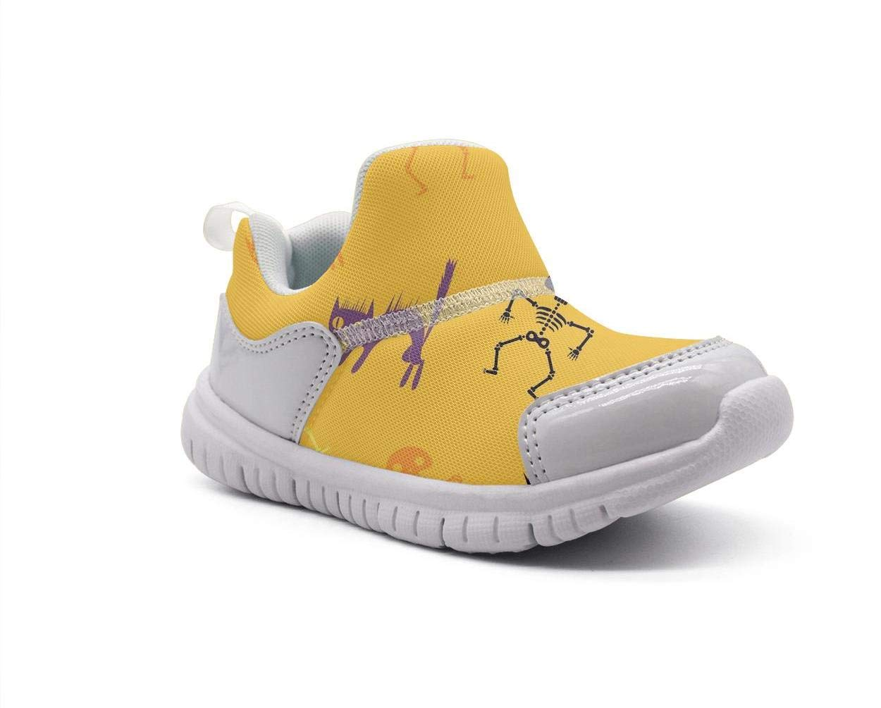ONEYUAN Children Halloween Skeleton cat Yellow Kid Casual Lightweight Sport Shoes Sneakers Walking Athletic Shoes