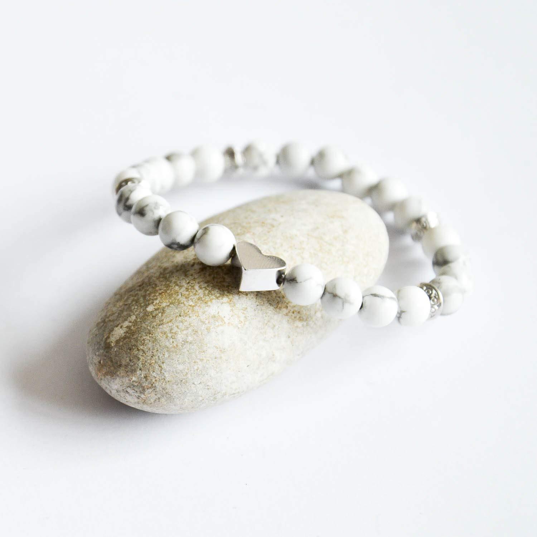 Woman Love Bracelet White Beaded Bracelet Heart bracelet Cacholong Gemstones Summer Bracelet Silver bracelet girl