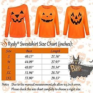 Rysly Womens Sexy Off The Shoulder Halloween Pumpkin Sweatshirts Pullover Costumes Plus Size M Orange