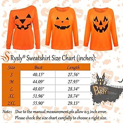 Rysly Womens Sexy Halloween Pumpkin Sweatshirts Pullover Costumes Plus Size S Black