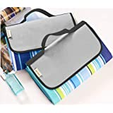 """WeTong Extra Large Outdoor Waterproof Backing Foldable Picnic Blanket Tote for Family Concerts, Hiking,Beach,Party,Camping on Grass Sandproof Water-Resistant Handy Picnic Mat Tote 80"""" X 58"""""""
