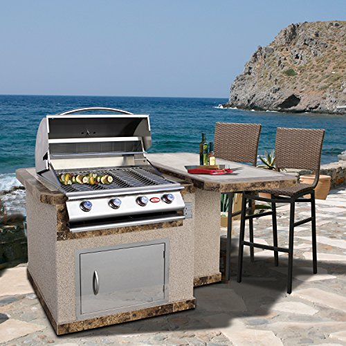 """Cal Flame LBK-402-A Outdoor Kitchen Island with Bar Top with 4-Burner Built in Grill 27"""" Stainless steel door, two tone tile and Ameristucco base"""