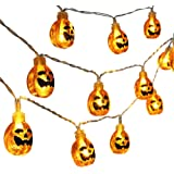Qedertek 20 LED Battery Powered 3D Pumpkin Halloween String Lights, Fairy Decorative Warm White Jack-O-Lantern Lights for Indoor and Outdoor, Patio, Party, Festival Decorations