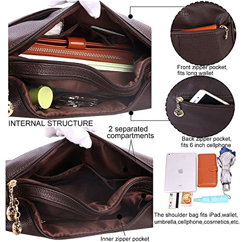 Satchel Women��s Shoulder Bag Leather Bags Dark Crocodile for Handbags and Brown Hobo Purse Cross Ladies Body nrUqnzBx