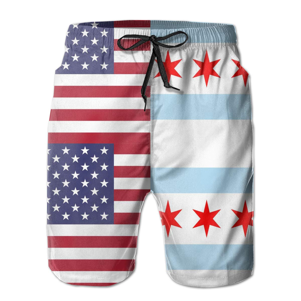 TBVS 79 Chicago American Half Flag Mens Summer Cool Surfing Boardshorts with Mesh Lining
