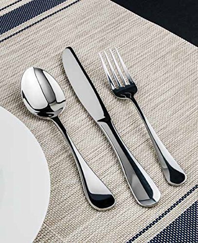 Winco Elite 3 Dozen Flatware Set, 18-0 Stainless Steel Classic Old-Fashioned Dinner Spoons (Dozen Pack), Dinner Forks (Dozen Pack) and Dinner Knives (Dozen Pack), 36-Piece Set (Silverplate Knife Modern Dinner)