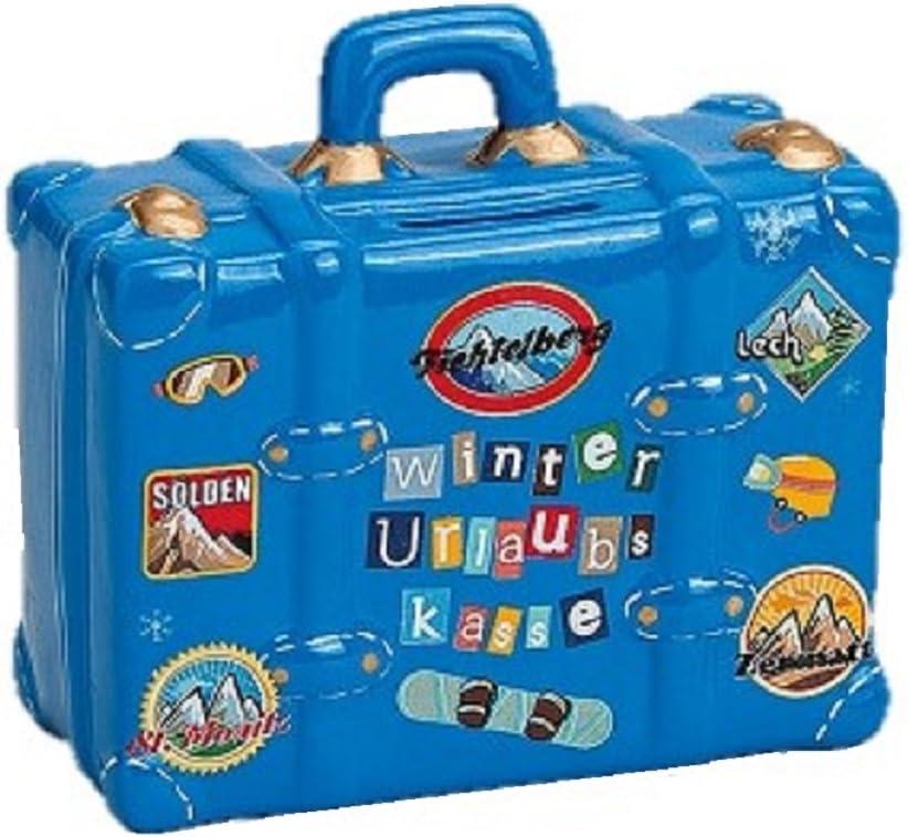 Geschenkestadl Hucha Maleta de Viaje En Azul Hucha 14 cm x 6 cm x 13 cm Cerámica Vacaciones – Caja registradora: Amazon.es: Juguetes y juegos
