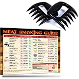 "BBQ Smoker Accessories Gifts: Best Meat Smoking Time & Temperature Guide 8""x11"" Magnet + 2 Bear Claws Meat Shredder Paws for Pulled Pork Beef Chicken Turkey BPA Free Meat Claws Handlers Forks"