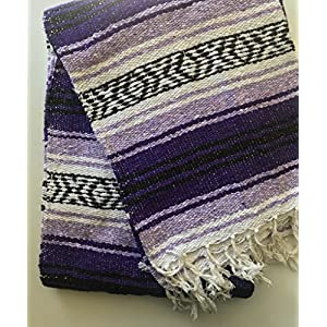 "Well-Being-Matters 61zdqirXZeL._SS300_ Mexitems Mexican Falsa Blanket Authentic 52"" X 72"" Pick Your Own Color (Purple/Lilac/Black)"