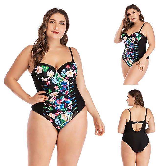 e2a2efde8c346 Yeawooh Women's Slimming Swimsuit Flower Plus Size One Piece Swimwear  Beachwear with Mesh Design Women Plus