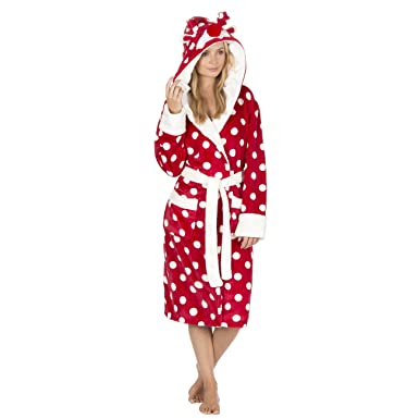 7876faa24fdc Ladies Christmas Spot Fleece Dressing Gowns with Animal Hood. Red ...