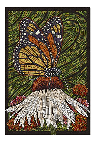 Monarch Butterfly - Paper Mosaic - Green Background (20x30 Premium 1000 Piece Jigsaw Puzzle, Made in USA!) ()