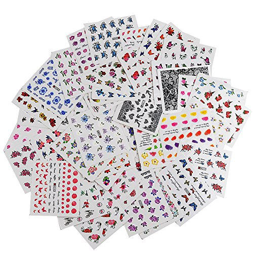 INHDBOX 50×Nail Decals,Nail Art Water Transfer Sticker Decal-butterfly, flower, heart ect ( different patterns )