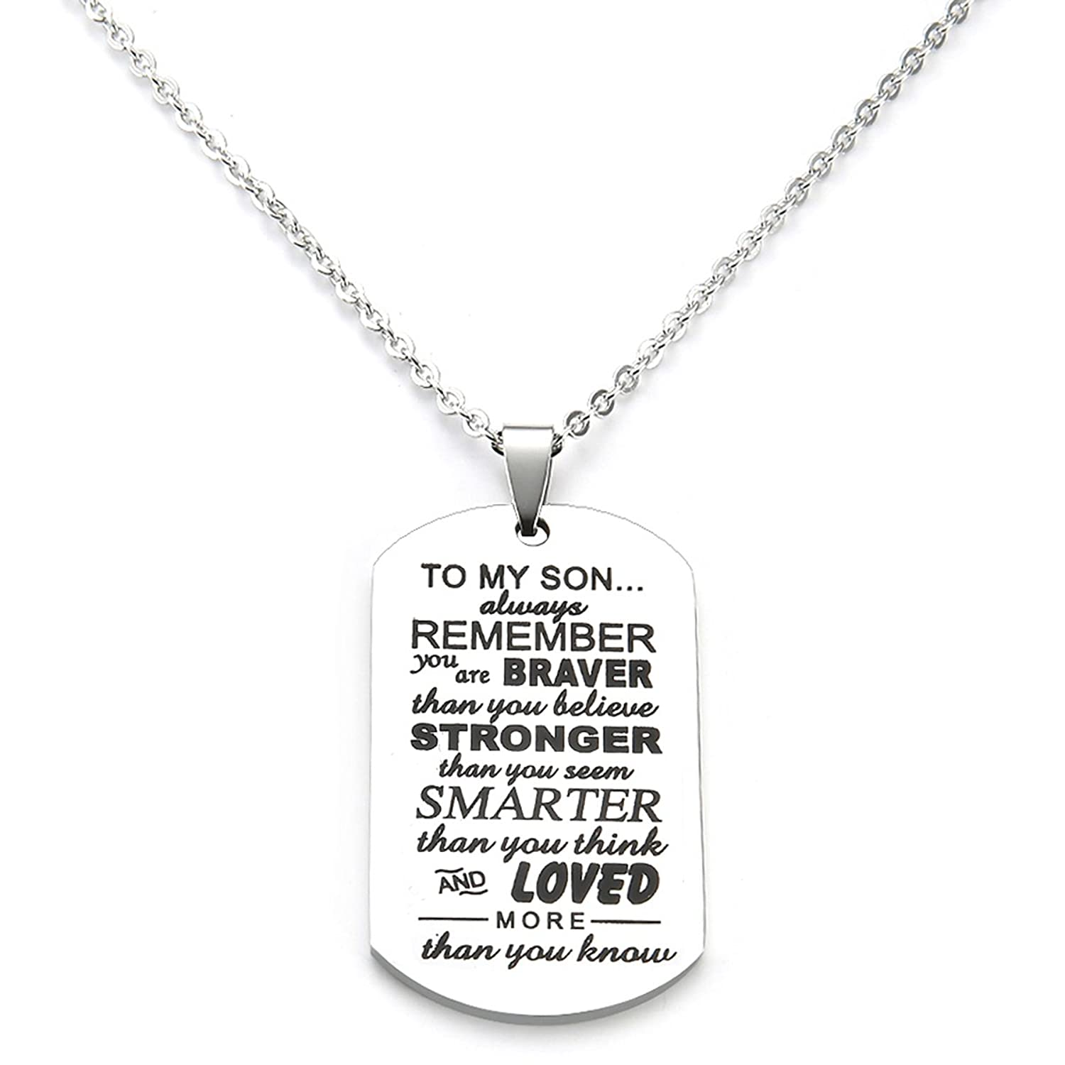 To My Son Gifts Always Remember To My Son Dog Tag From Dad Mens Boys Necklace Military Chain Air Force Pendant Thanksgiving and Child Birthday Best Souvenirs