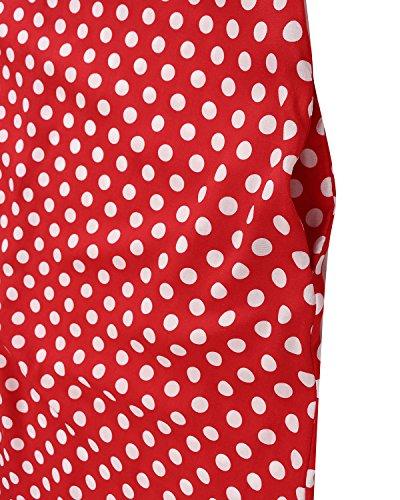 Abito Maxi Largo Manica Rosso Pois ZANZEA senza Casual Elegante Lungo Dress Vestito a Donna RnFtZ