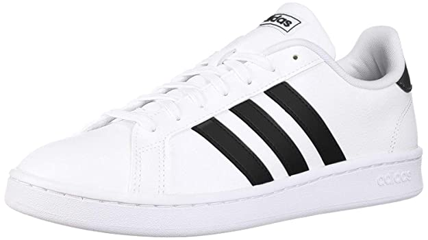 adidas Women's Grand Court Tennis Shoe, White/Black/White, 7.5 M US