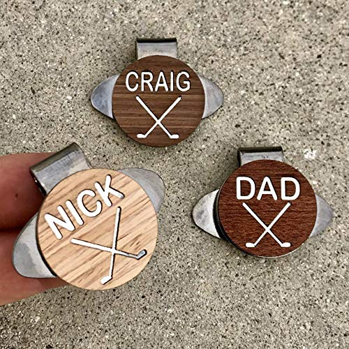 (WOODULIKE Golf Ball Marker & Custom Engraved Magnetic Hat Clip Personalized)