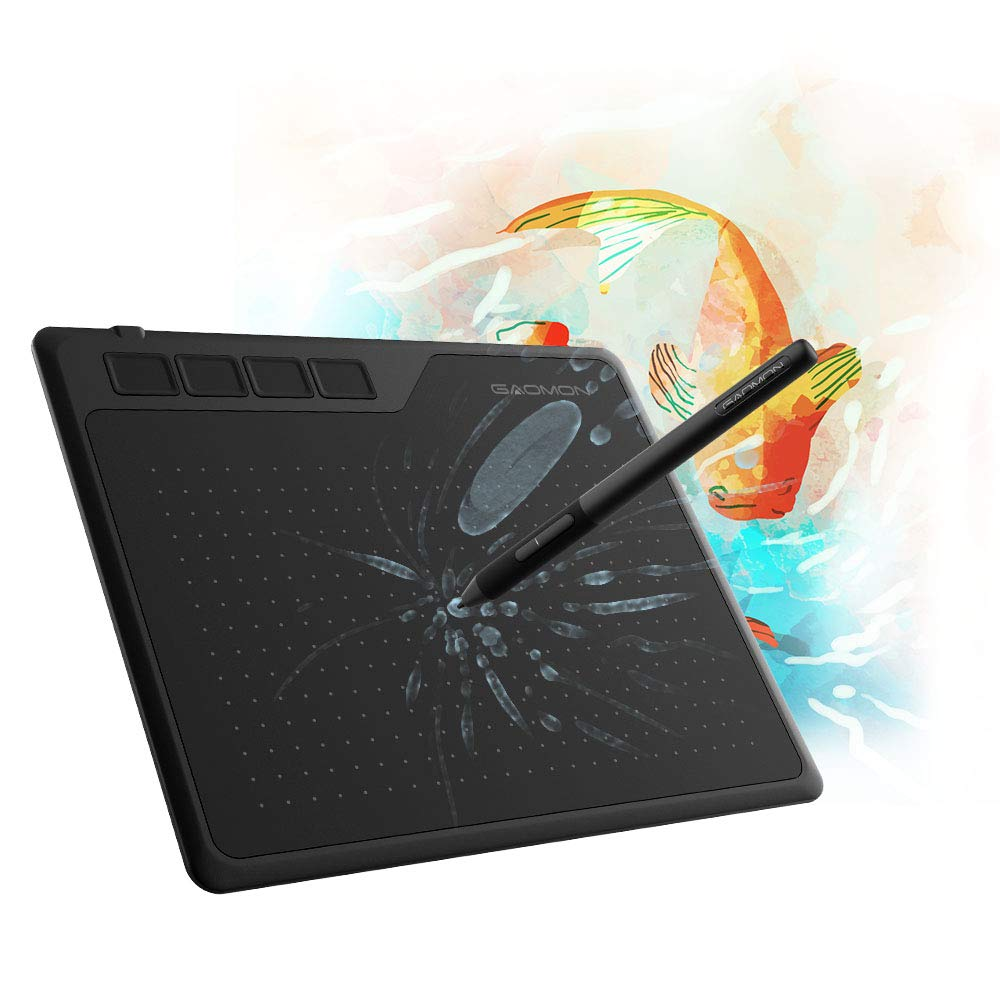 GAOMON S620 6.5 x 4 Inches Pen Tablet 8192 Levels Pressure Graphic Tablet with 4 Express Keys and Battery-Free Pen for Drawing & Playing OSU for Windows Mac Android OS