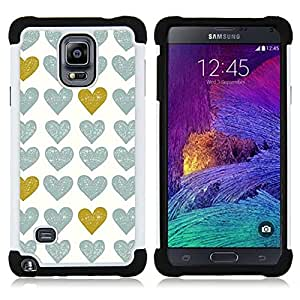 For Samsung Galaxy Note 4 SM-N910 N910 - gold teal white uniform pattern love Dual Layer caso de Shell HUELGA Impacto pata de cabra con im??genes gr??ficas Steam - Funny Shop -
