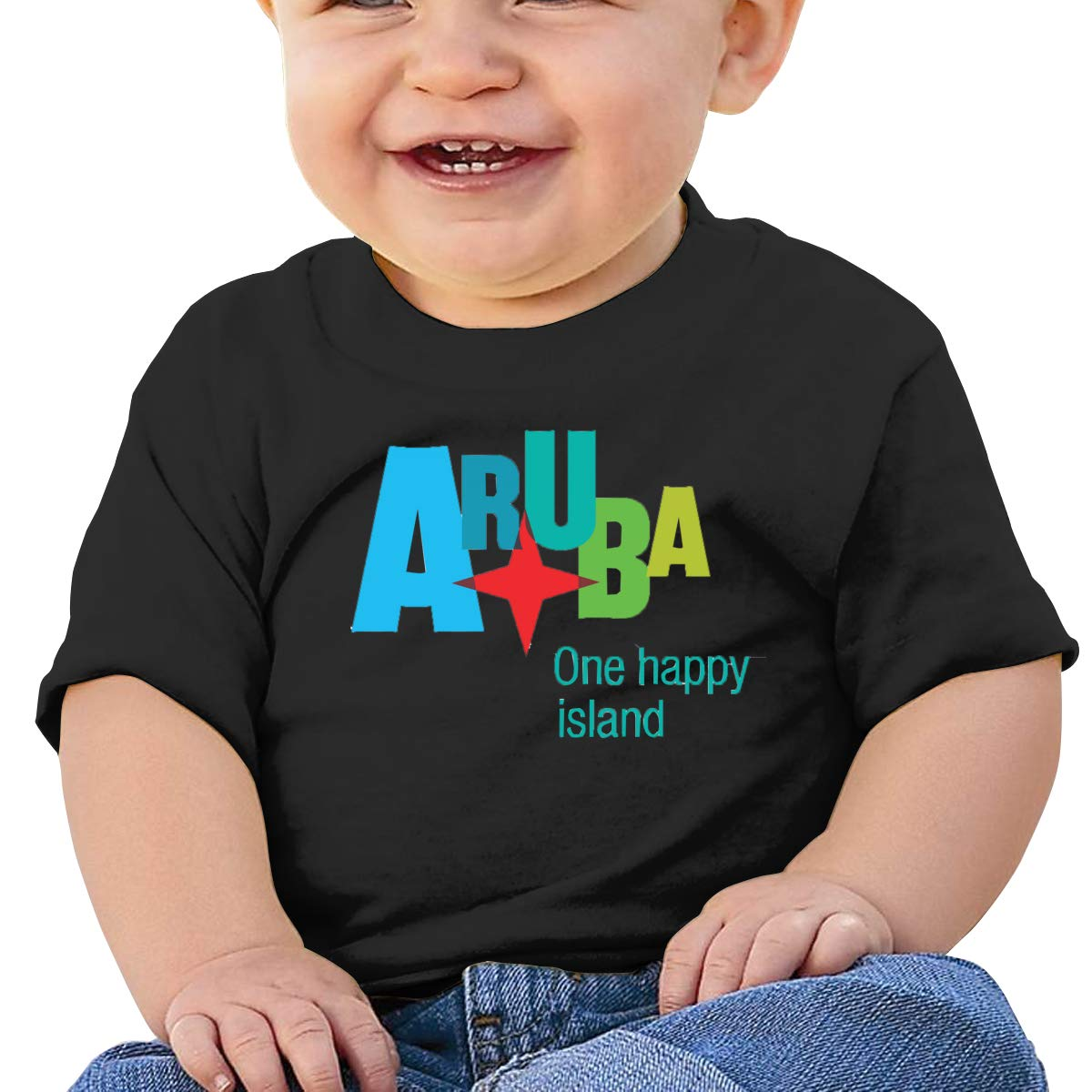 Aruba-Logo Baby T-Shirt Little Baby Cotton T Shirts Soft Graphic Tees for 6M-2T Baby