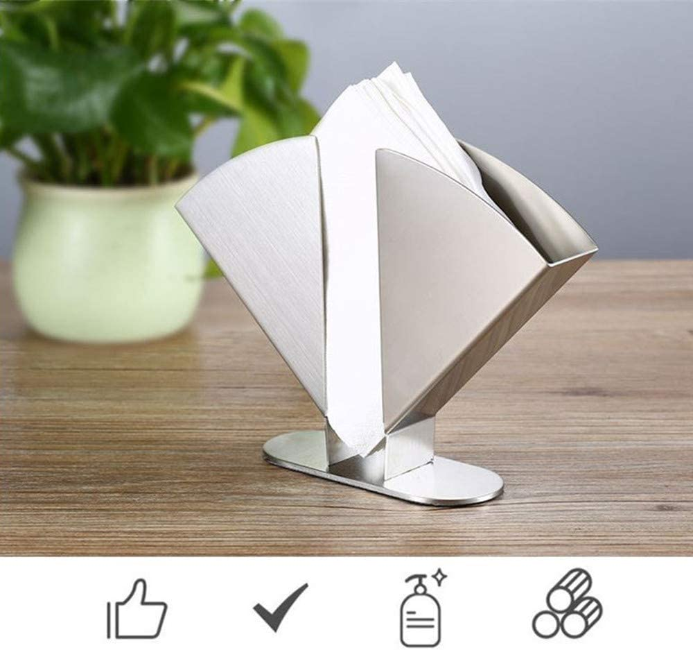 Decorative Upright Heavy Duty Paper Towel Holder Freestanding Metal Tissue Dispenser Organizer for Dinner Tabletop Stainless Steel Napkin Holder for Kitchen Table and Countertops Luncheon