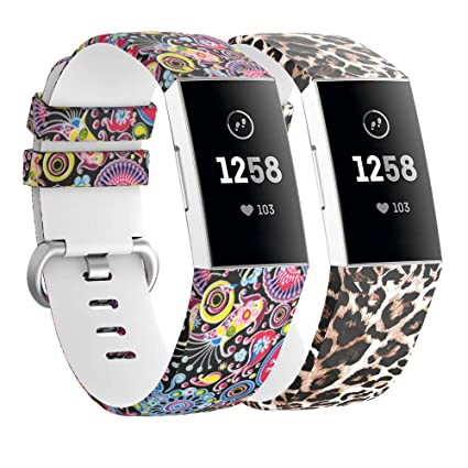 Usitek Compatible with Fitbit Charge 3 Bands Women Men Large Small,Floral  Replacement Strap Accessories Pattern Printed Wristband Compatible with