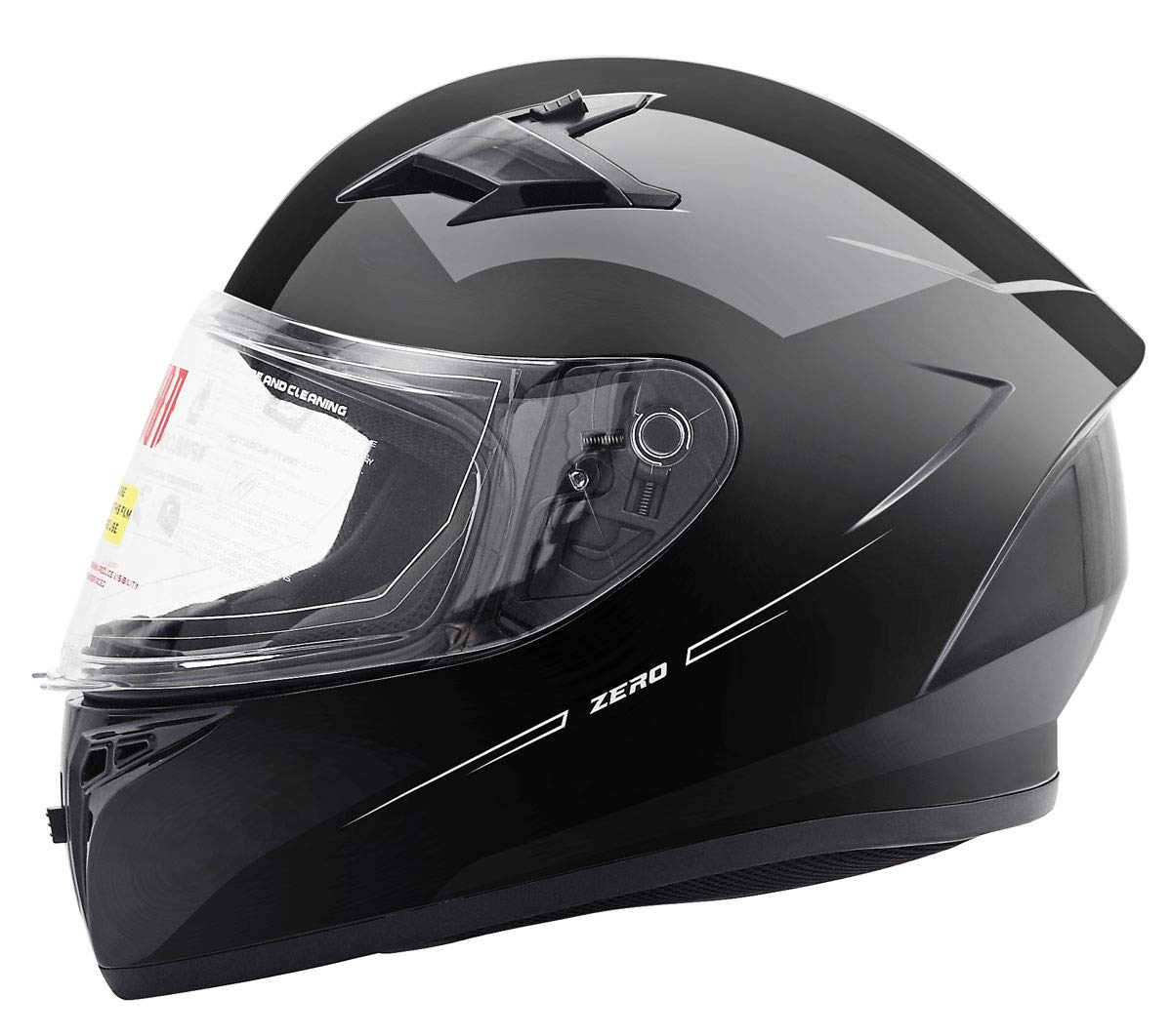 One Extra Smoked Shield XL, Gloss Black Orion Zero Full-Face Motorcycle Helmets DOT Approved