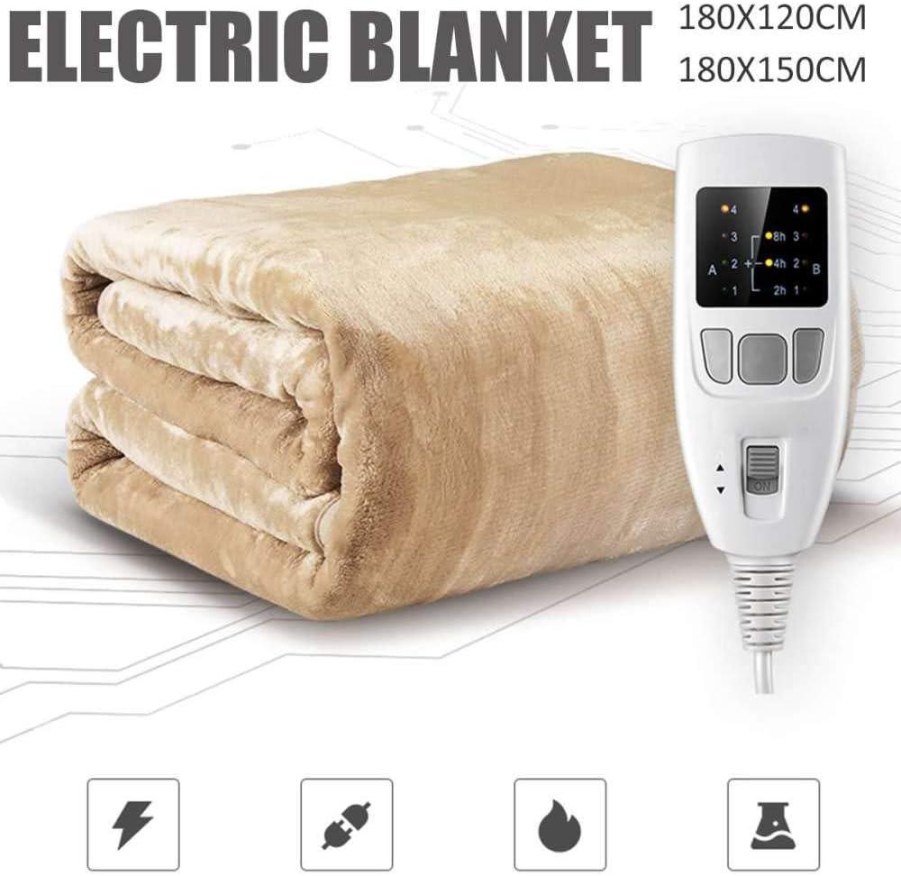 Manta calefactada doble, 180 cm de seguridad Controlador de temporización de doble temperatura Manta de cama eléctrica Colchón eléctrico para el hogar Colchoneta suave Calentador Almohadilla térm: Amazon.es: Hogar