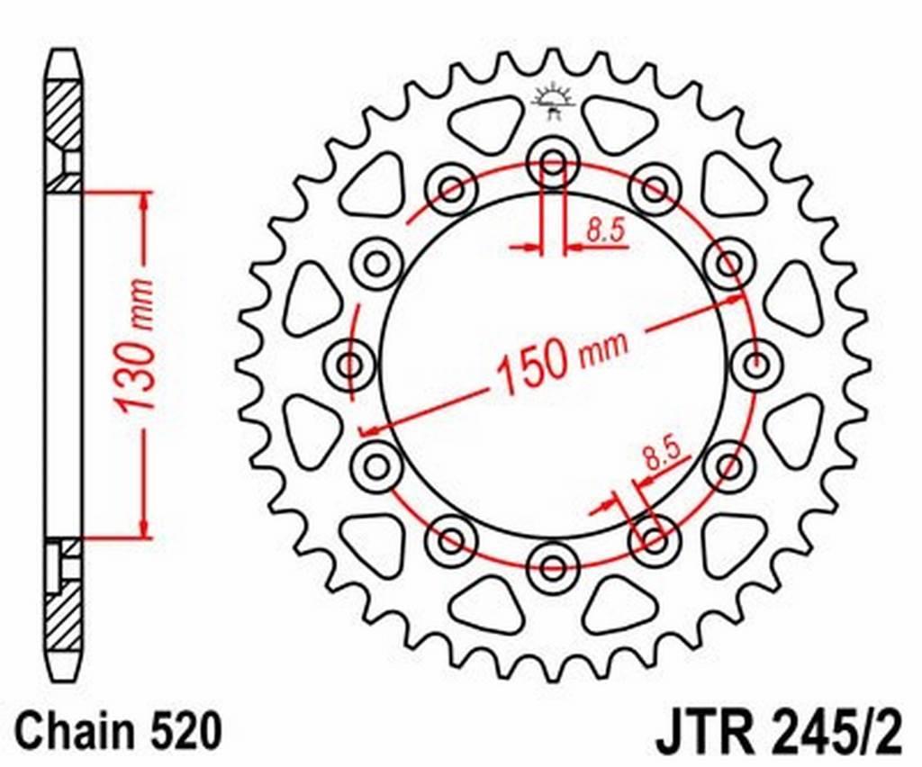 JT - R245248 : Corona plato transmision trasero acero JT 245/2